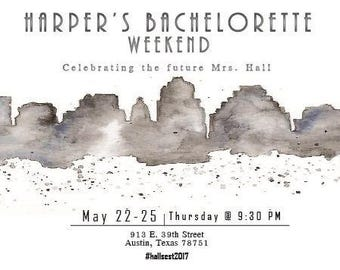 Downtown Austin Skyline Bachelorette Invitation