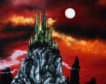 Original art, mythical city, acrylic on canvas, 24x30, kingdom, red sky, city on a hill, fantasy