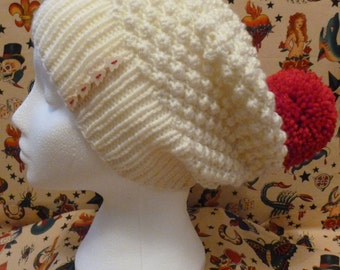 Womens wooly winter beanie hat in cream/red with christmas tree button detail