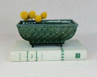 Vintage USA Green Rectangular Planter, Basketweave Planter, Succulent Planter