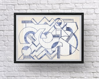 Art Deco Collection: Modern Home Decor, Screen Printed, Geometric Fabric Wall Art Screen Prints.