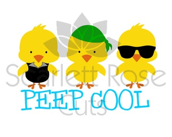Peep Cool Easter chick keep cool, sunglasses boy easter shirt design SVG cut file for silhouette cameo and cricut