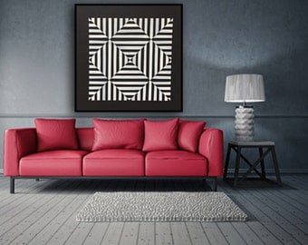 Original Painting, Geometric Acrylic Painting, Abstract Painting, Wall Art, Large Art, Modern Wall Deco, Black and White, 39''x39'' canvas