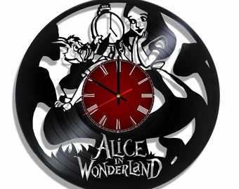 Alice in wonderland wall design clock, Alice in wonderland decal