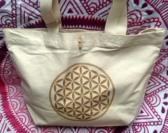 ORGANIC COTTON Market bag flower of life BIO Mandala