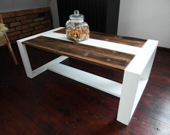 Modern Handmade Reclaimed Wood & White Steel Coffee Table Vintage Rustic Industrial loft end table unique brown