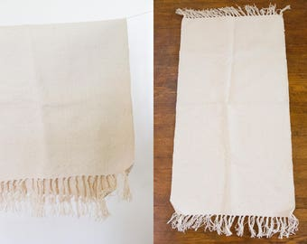 Vintage Beige Hand Woven Cotton Rug // Small Minimalist Rug