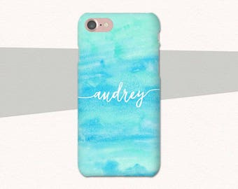 Blue Green Watercolor Custom Name iPhone Case, Watercolor iPhone 7 Case, iPhone 6 Case, Plus, Personalized iPhone Case Custom Name iPhone 6S