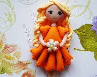 Necklace doll flower orange