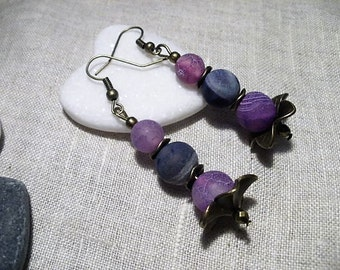 Beads frosted purple agate earrings