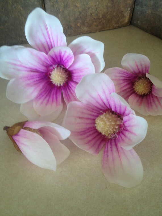 4pc lilac real touch magnolia flower heads crafts diy for Flower heads for crafts