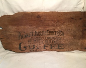 Vintage Plunkett-Jarrell Grocer Co. Wooden Crate Sign - Conway, AR