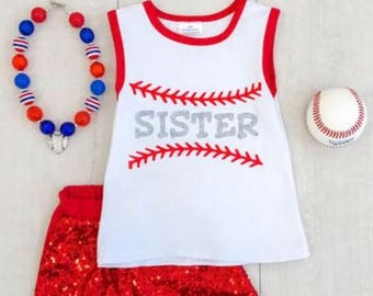 Sister Baseball outfit with sequin Shorts