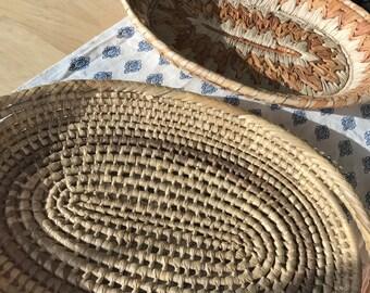 Set of 2 vintage woven baskets