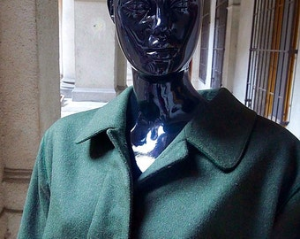 1960s European Vintage Loden Wool Coat, Olive Green Austrian Vintage Moser Full Length Wool Coat: Size 14-16 (US), Size 18-20 (UK)