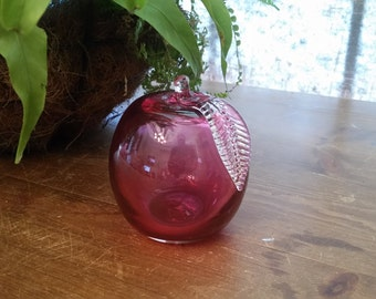 SALE!  Glass Apple Paperweight Hand-Blown Cranberry Color