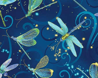 Dance of the Dragonfly - 8498M-55 Dancing Dragonflies Midnight Blue by Maria Kalinowski for Kansas in Association with Benartex