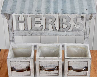 Handmade Herb Planter Box with Tin Roof ideal for the kitchen to display herbs and is a practical way of keeping herbs fresh