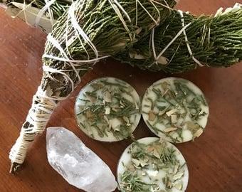 Six Handmade Cedar and Sage tea light candles, Meditation candles, Cedar and Sage infused tea light, tea light, spell candles, ritual tools