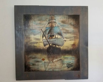 Sailing the sea. We will custom make any Ship to fit your imagination. Art will be drawn on wood.
