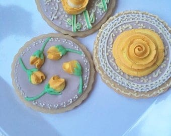 Golden Rose Cookies, Mini Sugar Cookies, One Dozen, Birthday Gift, Bridal Shower, Beautiful Roses, Royal Icing, Royal Icing Detail