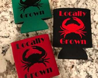 Crab locally grown can holder huggie cooler personalized