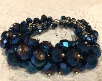 Celestial Blue Glass Bead Bracelet
