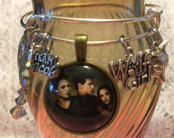 Twilight Inspired Team Jacob Bangle Bracelet/Team Jacob Bangle Bracelet/Inspired by Not Authorized Copyright Item