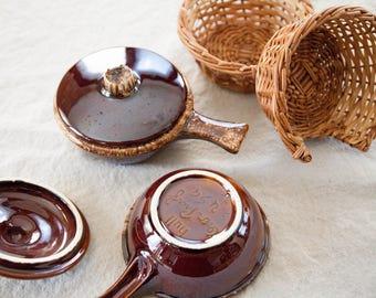 Vintage Soup Bowls with Wicker Basket, Set of 2