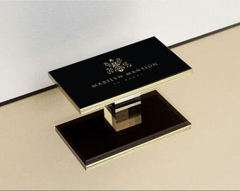 Luxury Business Card Design and Print, Business Card with Gold Edge, Black Business Cards Foil +Edge