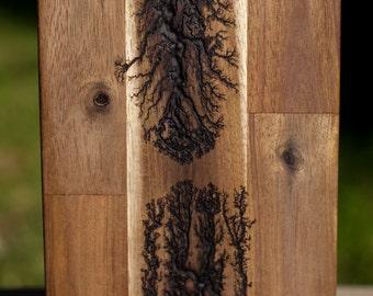 Lichtenberg Bread, Cheese, or Cutting Board, lightning fractal pattern