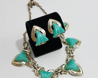 Gorgeous Jewelry Set with Turquoise Thermoset Necklace and Matching Clip Earrings