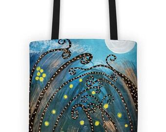 Tote bag 100% original design - Fireflies -