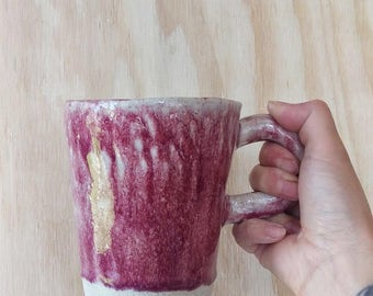 large maroon red pink white stoneware ceramic coffee mug teacup