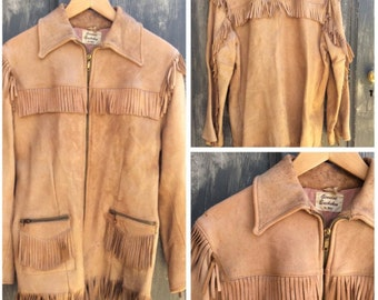 1950's buckskin leather fringed trapper jacket, 36
