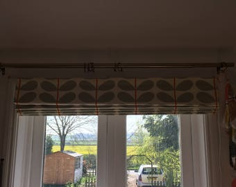 Roman Blind Made in Orla Kiely Grey/ Orange Colourway Cotton Fabric