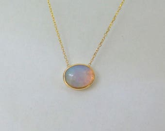 Opal Necklace 14k Yellow Gold/ Yellow Gold 14k Opal Necklace/ Natural Opal Necklace Yellow Gold/ Minimalist Necklace