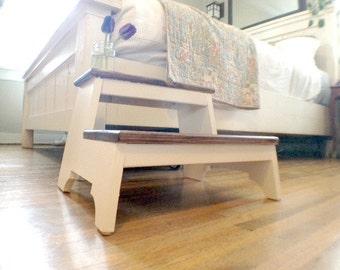 FOX CORNER Heirloom Inspired Farmhouse Step Stool. Rustic, farmhouse decor, minimalist, kid booster, helper step stool, heirloom, plantstand