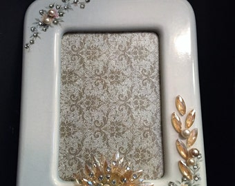 Jeweled Vintage Picture Frame/Photo Frame/Rhinestone Picture Frame/Home Decor