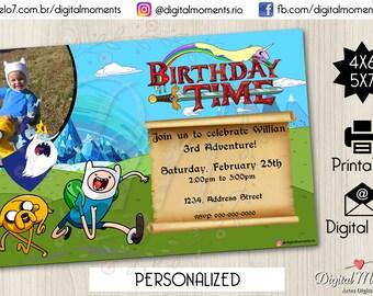 Adventure Time Personalized Digital Invitation Printable, Adventure Time Party, Adventure Time Birthday, Invites