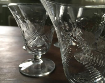 Vintage Etched Glass Apertif Glasses - Set of Six