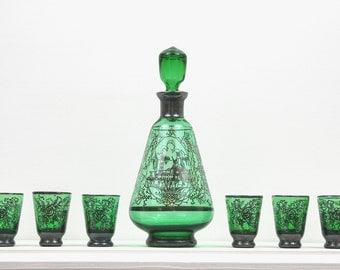Venetian green glass decanter and six glasses, with silver detailing - vintage - 1960s