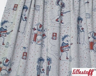 Jersey Knit ORGANIC Cotton Lycra European Fabric - ROCKSTAR by Susalabim for Lilestoff - Heather Gray