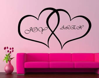 Personalized Hearts With Names Vinyl Wall Decal Bedroom Decor a86