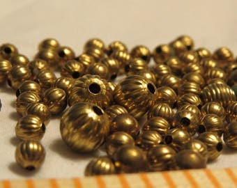 Vintage Brass Beads, corrugated melon shaped
