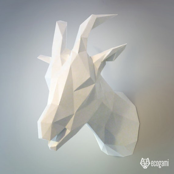 Goat paper trophy diy faux taxidermy wall mount 3d goat paper trophy diy faux taxidermy wall mount 3d papercraft sculpture printable pdf pattern low poly animal assembly solutioingenieria Images