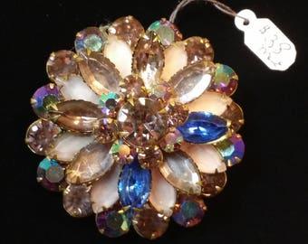 Vintage Crystal Brooch - Multicolored Round Flower