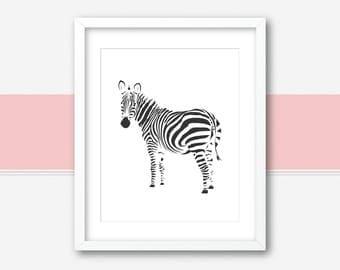 Zebra Wall Print | Zebra Wall Art Print | Zebra Nursery Print | Zebra Art Printable | Safari Nursery Decor | Zebra Poster | Zebra Print