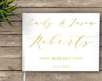 Wedding Guest Book, Gold Foil, Calligraphy, Custom Guest Book, Personalized Guest Book, real gold foil