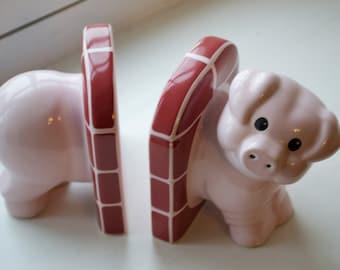 Vintage Carlton Wear Pig Book Ends Rare Excellent Condition